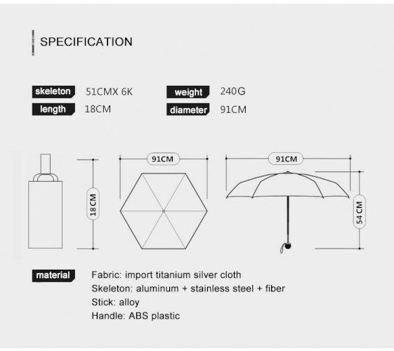 OLYCAT Professional Titanium Silver Sunscreen Umbrella Anti-ultraviolet UPF50+ Cooling Ultra