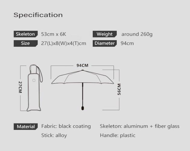 OLYCAT Ultralight Flat Fully Automatic Umbrella Three-fold Rain Umbrella Portable Anti-UV Sun Umbrella