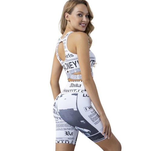 Yoga Set 20 Clothing Two-piece Suit Newspaper