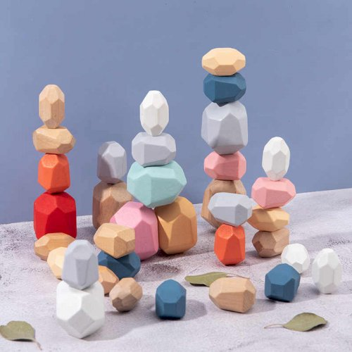 Creative Nordic Style Children's Rainbow Wooden Colored Stone Jenga Building Block Educational Toy